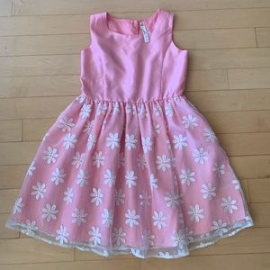 Girl's Pink Flowery Dress